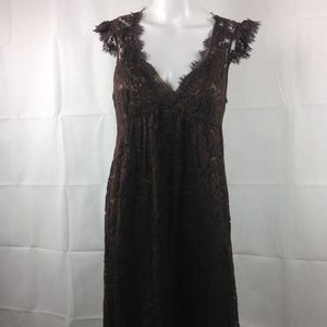 Rebecca Taylor 2pc Lace Over Dress Brown Boho 6